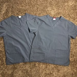 Set 2 DICKIES Medical Scrub Tops size Small Gray